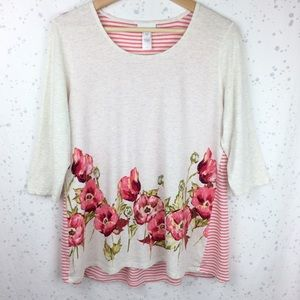 J. Jill Shirred Back Floral Striped Top M